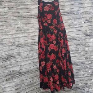 Torrid Black Floral Georgette Maxi Rose Dress
